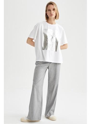 DeFacto Mickey Mouse Lisanslı Regular  Fit Kısa Kol T-shirt Beyaz
